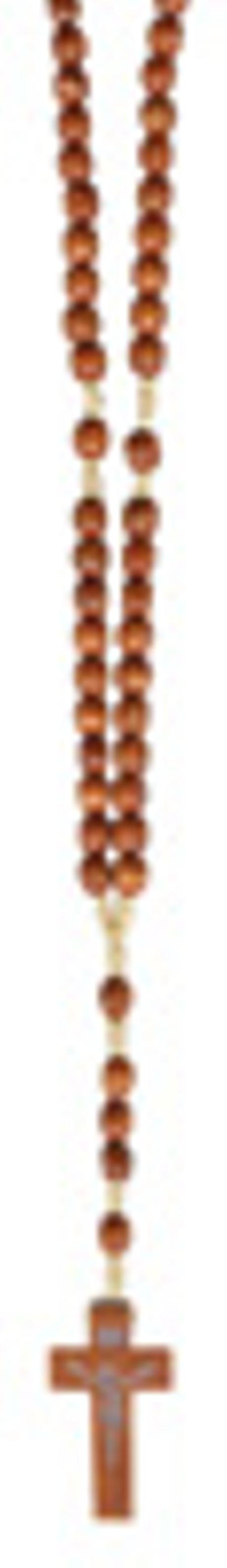ROZENKRANS - houten parels - ovaal - gegraveert - 35 cm lang - geknoopt