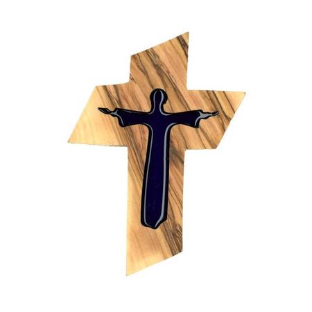 KRUIS - olijvenhout - christus / email - blauw
