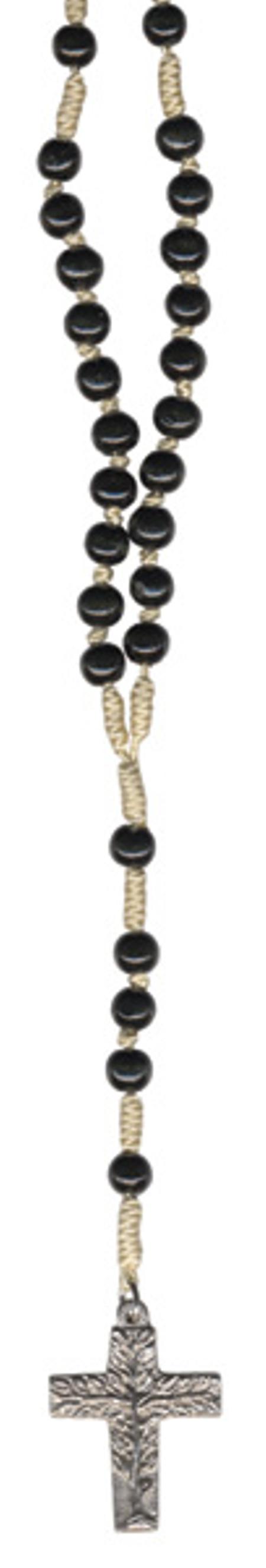ROZENKRANS - grote parel - ZWART - levensboomkruis - 46 cm