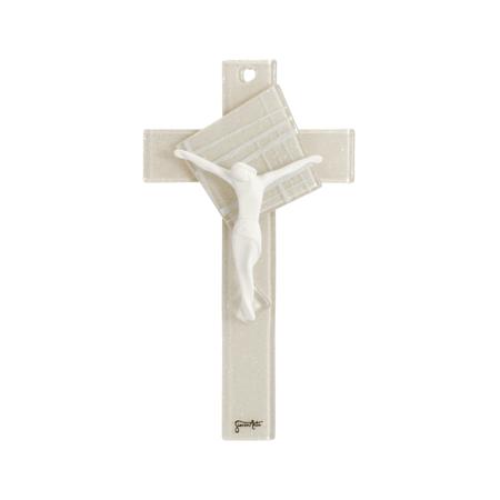 KRUIS - beige - wit - corpus - om te hangen - 16x8,8 cm