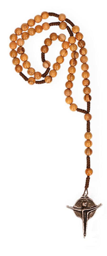 ROZENKRANS - olijfhout - geknoopt - bronzen kruisje