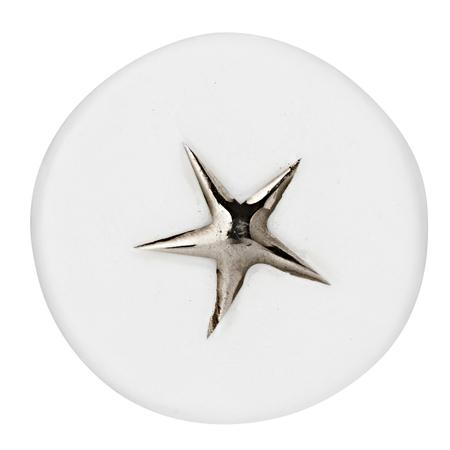 GELUKSBRENGER - wit rond met zilveren ster - dia 3 cm