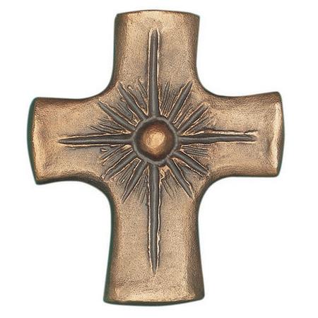 KRUIS - brons  met parel - 8x7 cm