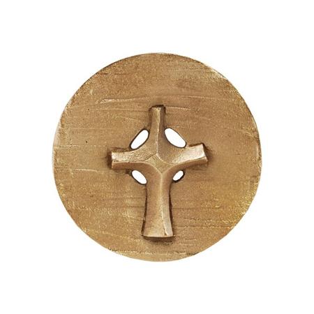 KRUIS - plakette - rond doorsnede 7,5 cm - brons