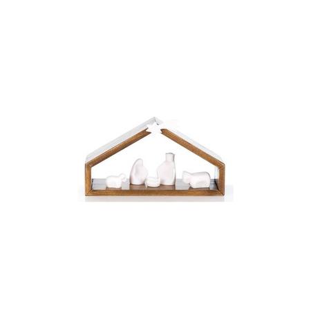 KERSTSTAL - hout - 5 figuren -alabaster - wit