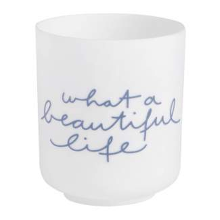 WHAT A BEAUTIFUL LIFE - poetry light - d 6 cm h 7 cm wit/blauw