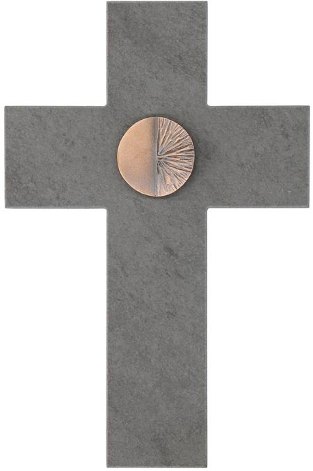 KRUIS - met bronselement - 13,5x20 cm - om te hangen - in een doosje