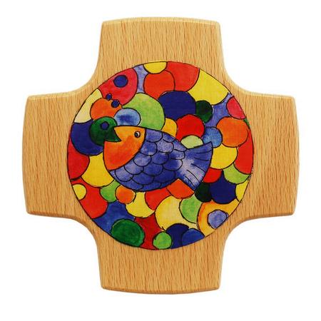 KRUIS - hout - veelkleurig - vis - 8x8 cm