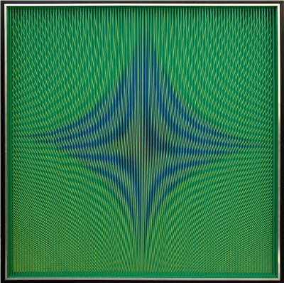 Dinamica visiva doppio strato di lamelle in PVC su tavola dipinta by Alberto Biasi