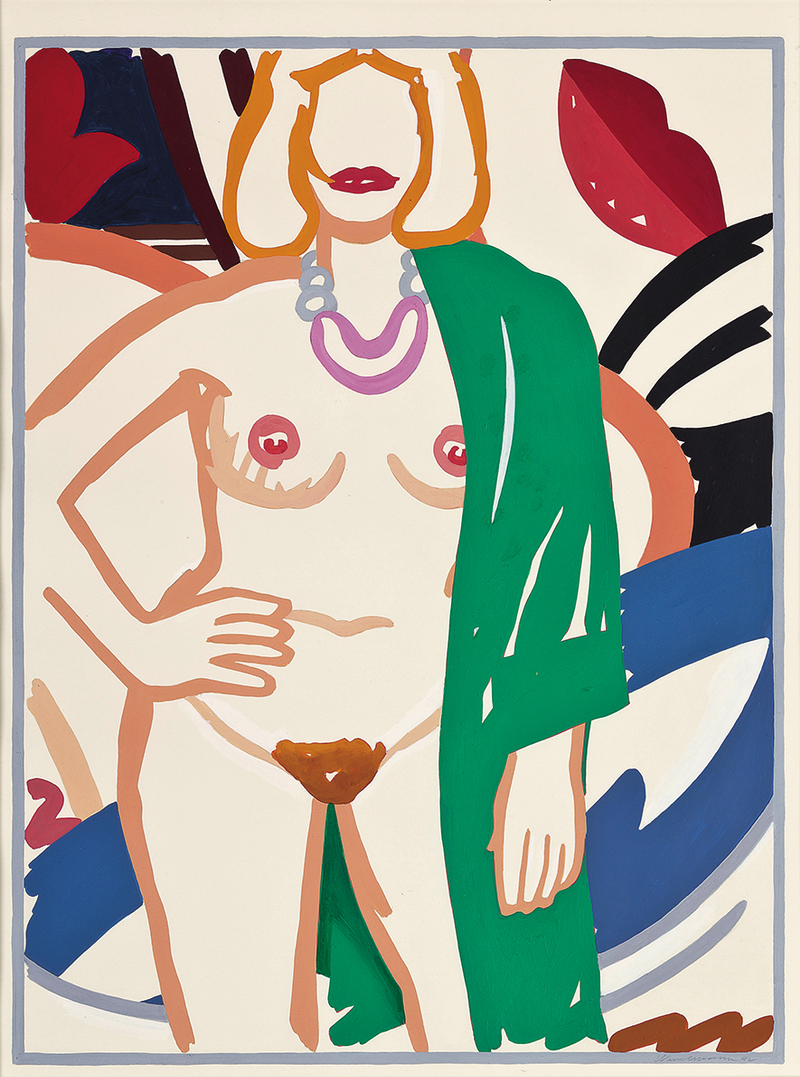 Study for Claire standing with Viviane (green robe) by Tom Wesselmann